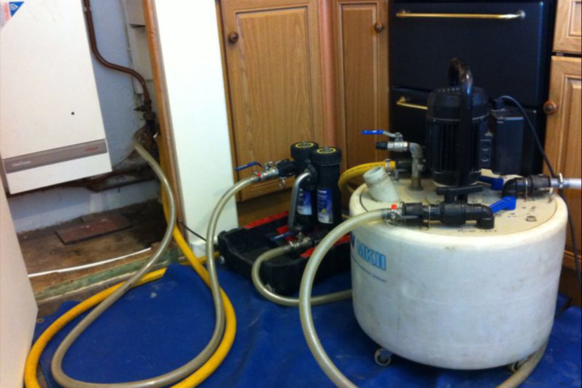 Power flushing a central heating system in the Hamoshire area